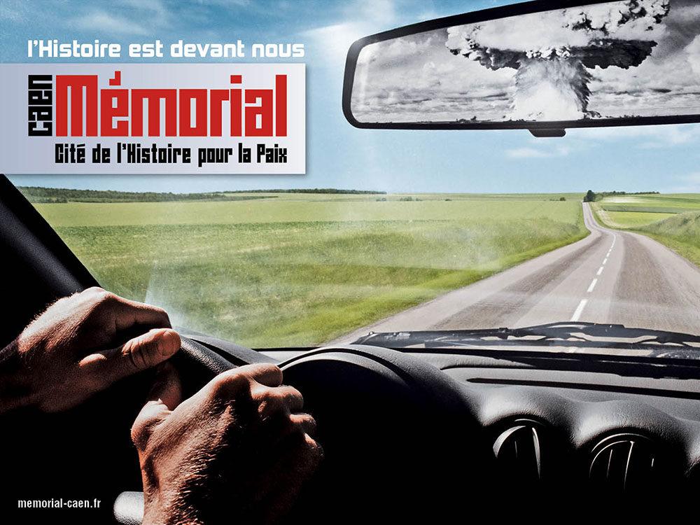 campagne affichage 20 ans du Memorial de Caen - Bombe - créé par Romain Cotto, Directeur Artistique 360 Print/film/digital