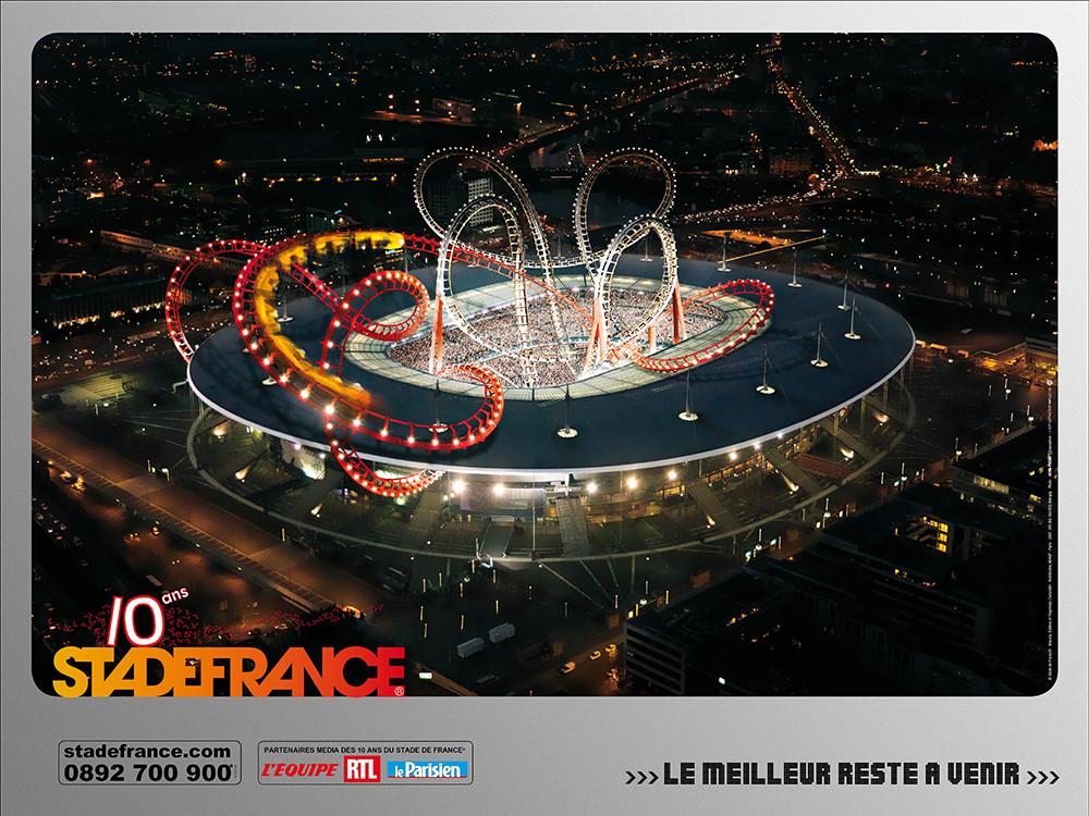 Conception campagne des 10 ans du SDF - Roller Coster - créé par Romain Cotto, Directeur Artistique 360 Print/film/digital