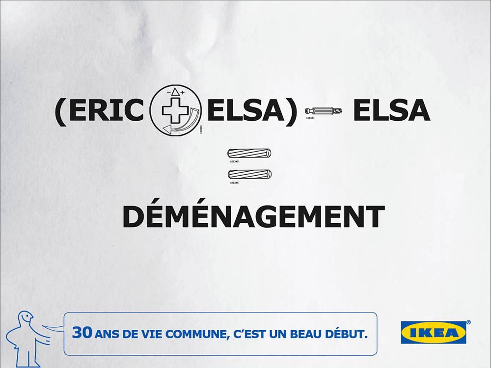 Ikea, 30 ans, déménagement - créé par Romain Cotto, Directeur Artistique 360 Print/film/digital