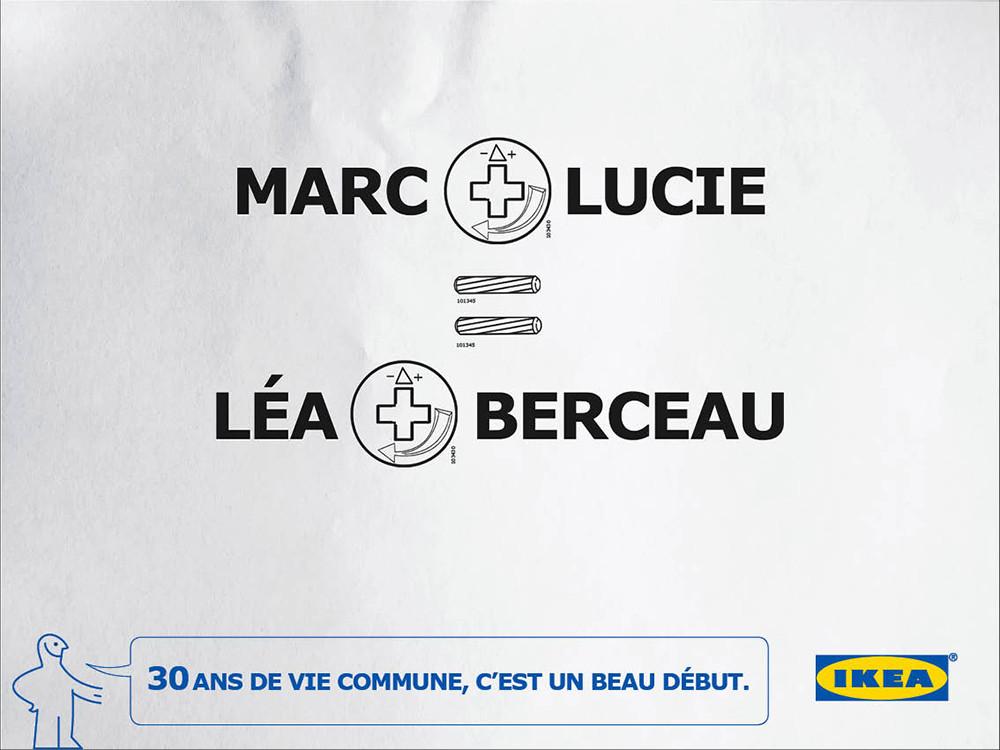 léa + berceau, Ikea , 30 ans - créé par Romain Cotto, Directeur Artistique 360 Print/film/digital
