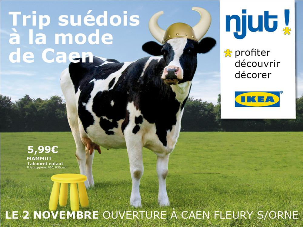 Campagne Affiche Ikea Caen, vache - créé par Romain Cotto, Directeur Artistique 360 Print/film/digital