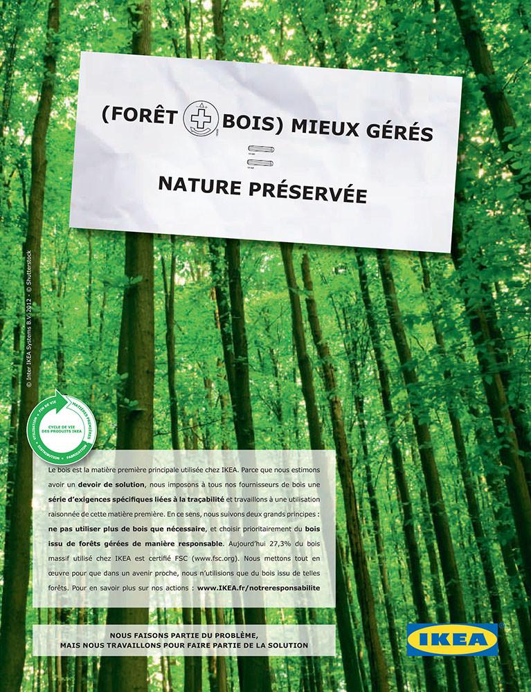 presse développement durable, IKEA, Bois - créé par Romain Cotto, Directeur Artistique 360 Print/film/digital