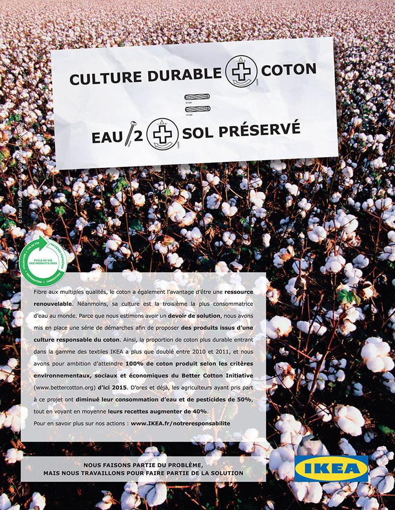 presse développement durable, IKEA, textile - créé par Romain Cotto, Directeur Artistique 360 Print/film/digital