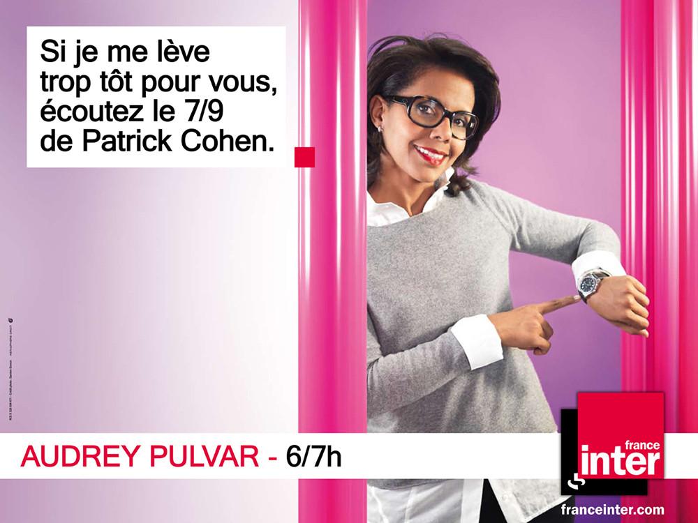 Création Campagne Affichage France Inter, Audrey Pulvar- créé par Romain Cotto, Directeur Artistique 360 Print/film/digital