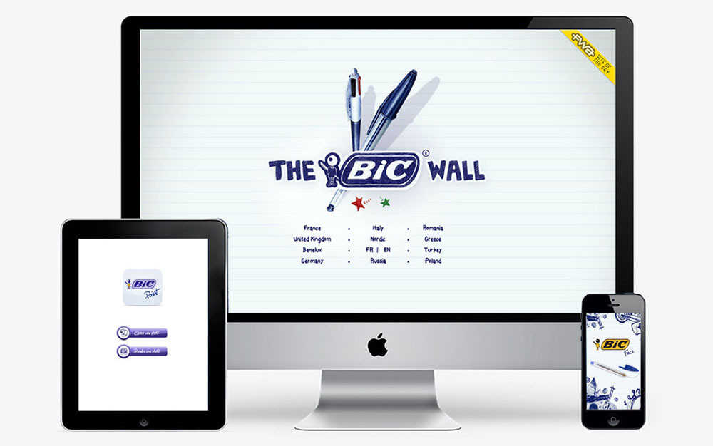 prix FWA, The bic wall - grand jeu international Bic cristal 60 ans - créé par Romain Cotto, Directeur Artistique 360 Print/film/digital