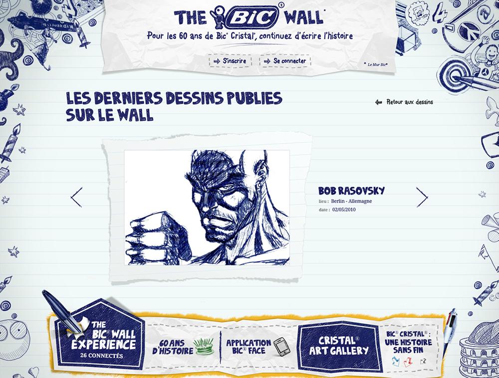 site the bic wall, 60 ans- créé par Romain Cotto, Directeur Artistique 360 Print/film/digital
