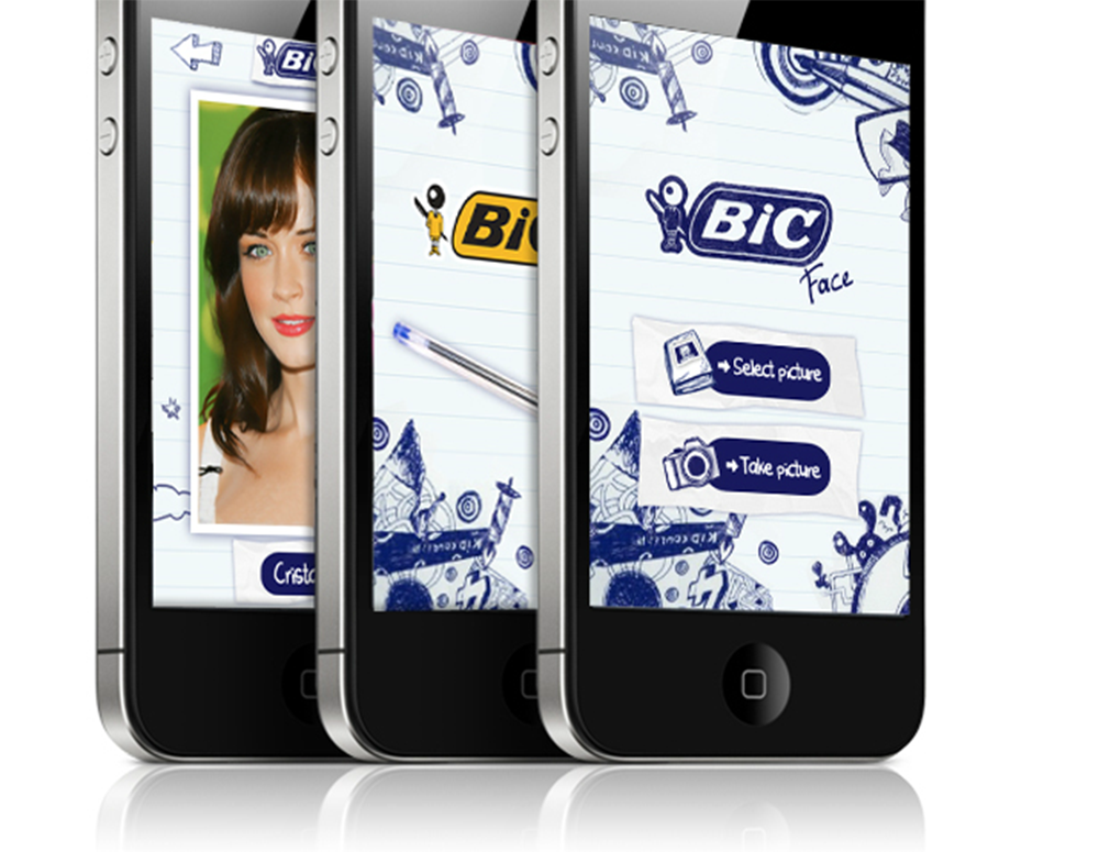 Application Mobile responsive the bic wall, 60 ans - créé par Romain Cotto, Directeur Artistique 360 Print/film/digital