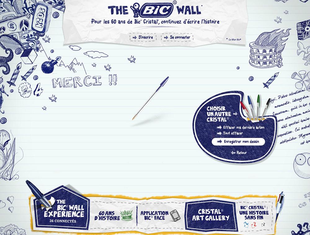 Site the bic wall, 60 ans - créé par Romain Cotto, Directeur Artistique 360 Print/film/digital