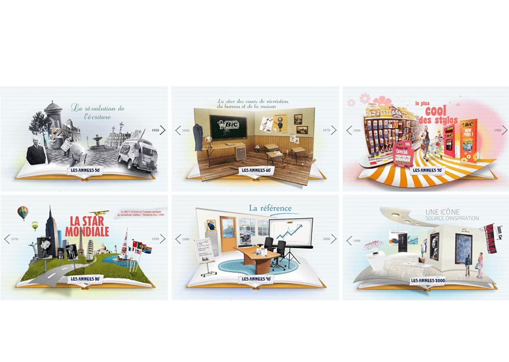 Création site Bic cristal Menus, the bic wall - créé par Romain Cotto, Directeur Artistique 360 Print/film/digital