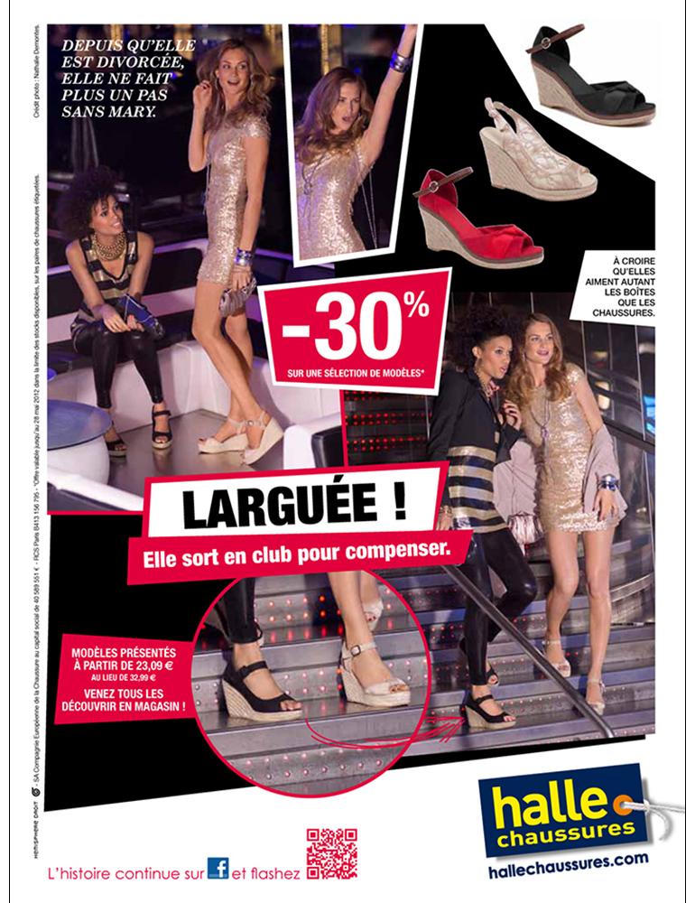 Campagne print, La Halle aux Chaussures, boite de nuit - créé par Romain Cotto, Directeur Artistique 360 Print/film/digital