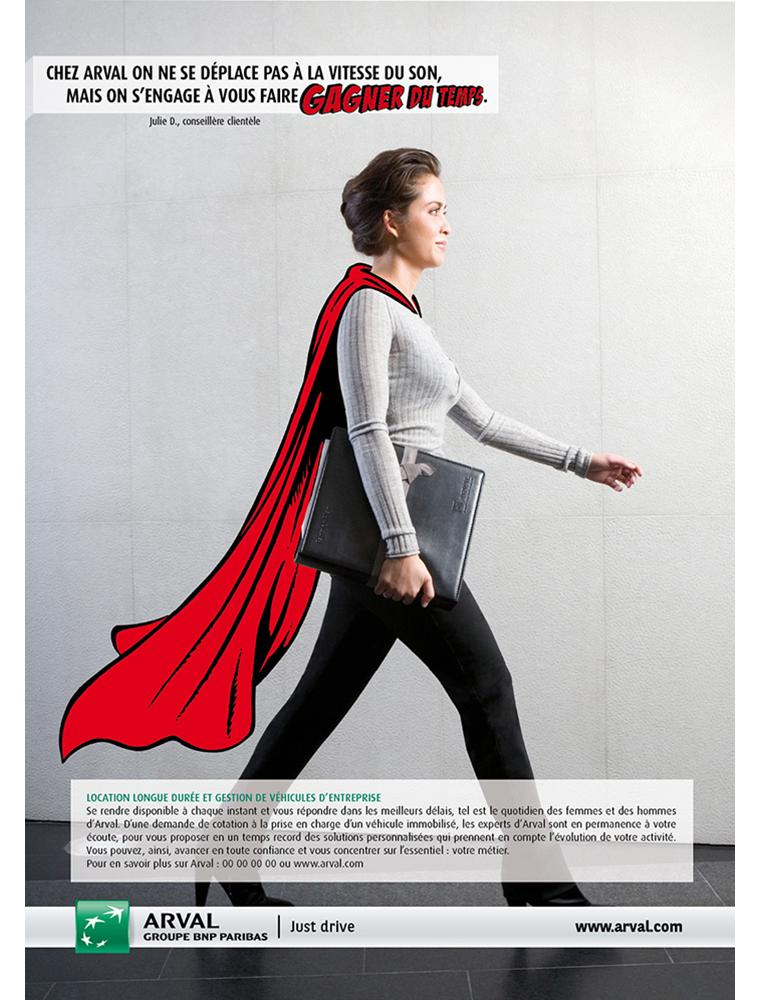 """Campagne presse """"gagner du temps"""" arval - créé par Romain Cotto, Directeur Artistique 360 Print/film/digital"""