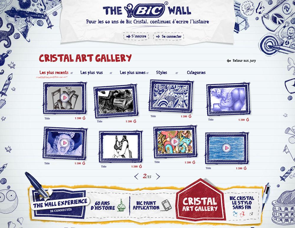 Création site Bic cristal art gallery, the bic wall - créé par Romain Cotto, Directeur Artistique 360 Print/film/digital