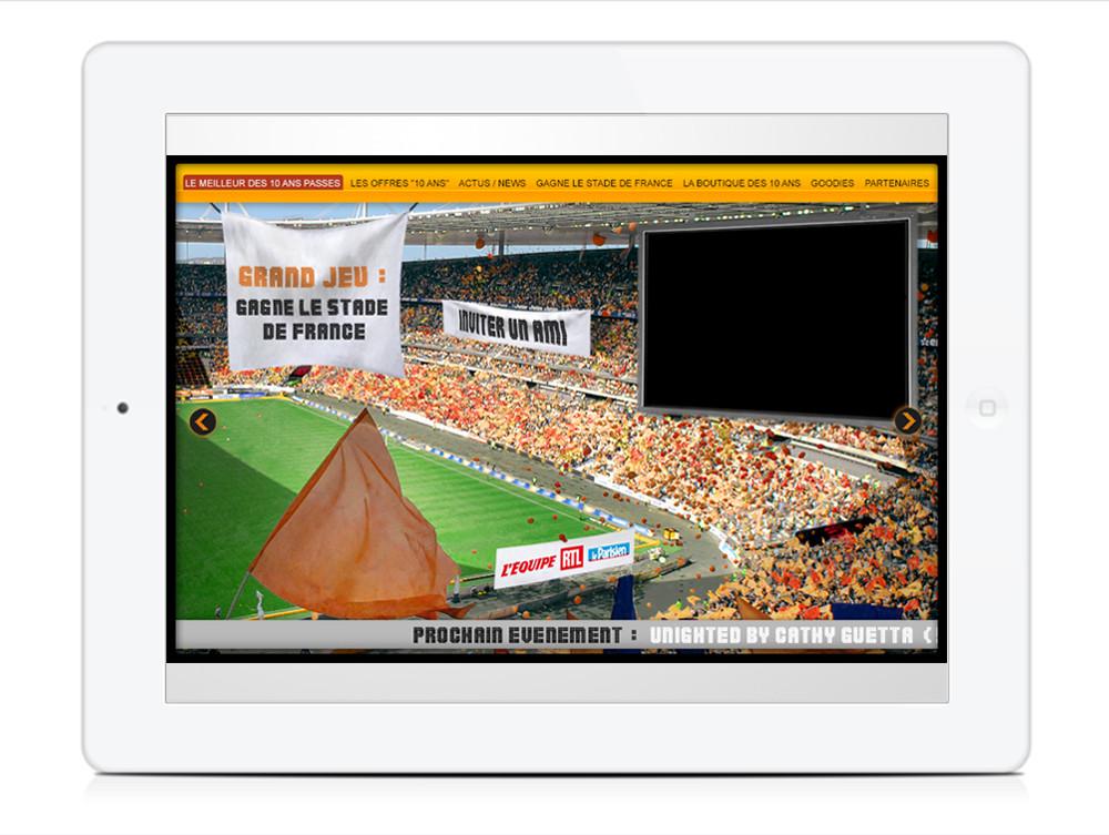Création site page Grand jeu stade de france- créé par Romain Cotto, Directeur Artistique 360 Print/film/digital