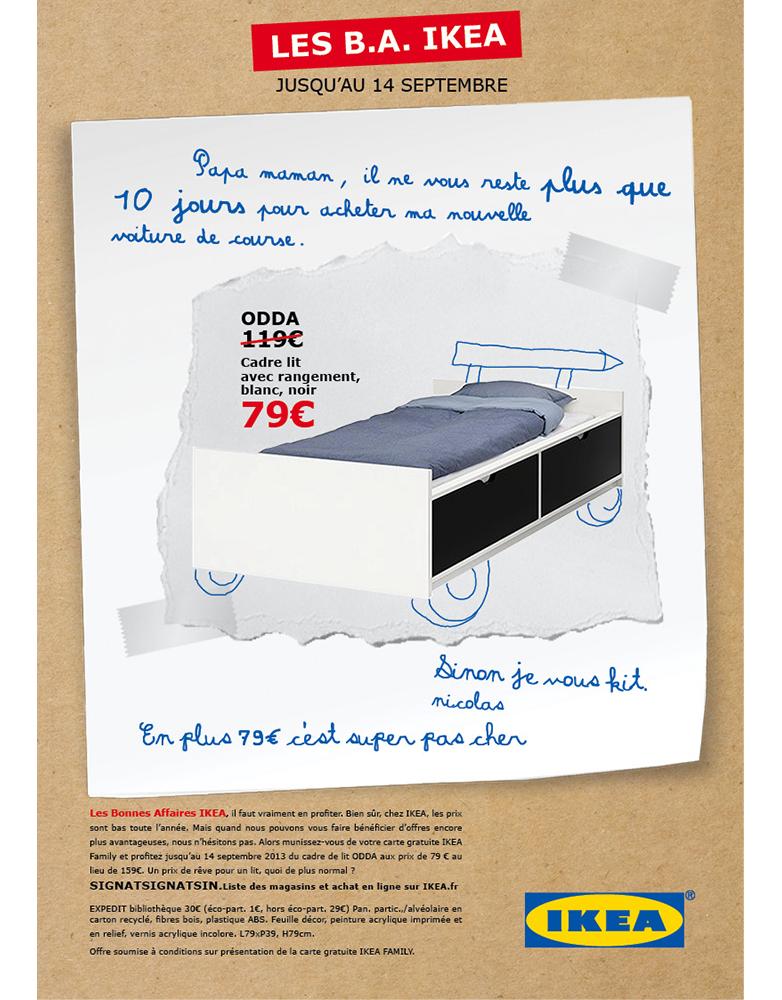 Annonce presse produit ikea, les BA Ikea, lit- créée par Romain Cotto, Directeur Artistique 360 Print/film/digital