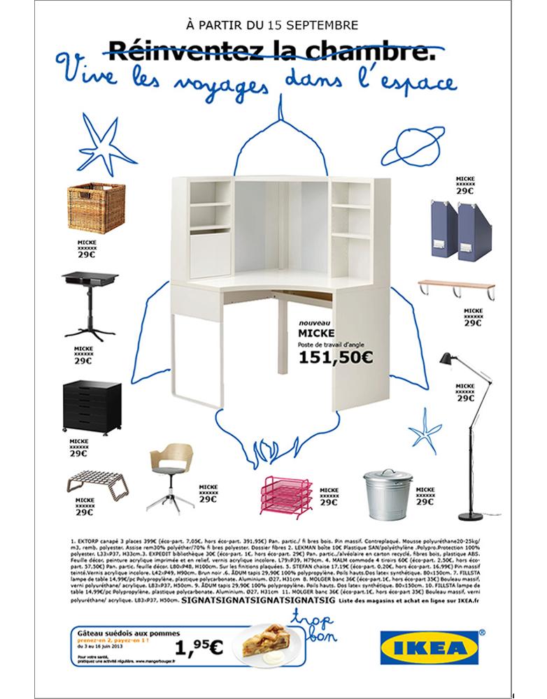 annonce presse produit ikea, chambre- créée par Romain Cotto, Directeur Artistique 360 Print/film/digital