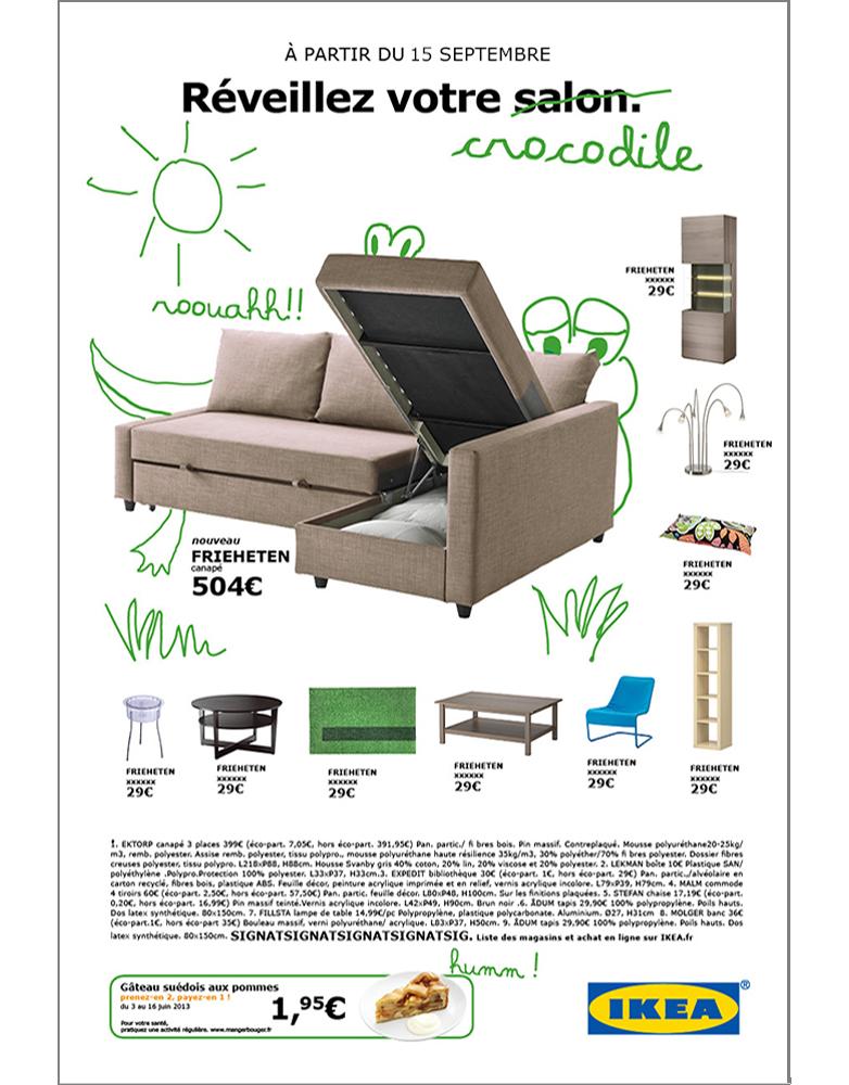 annonce presse produit ikea, salon - créée par Romain Cotto, Directeur Artistique 360 Print/film/digital