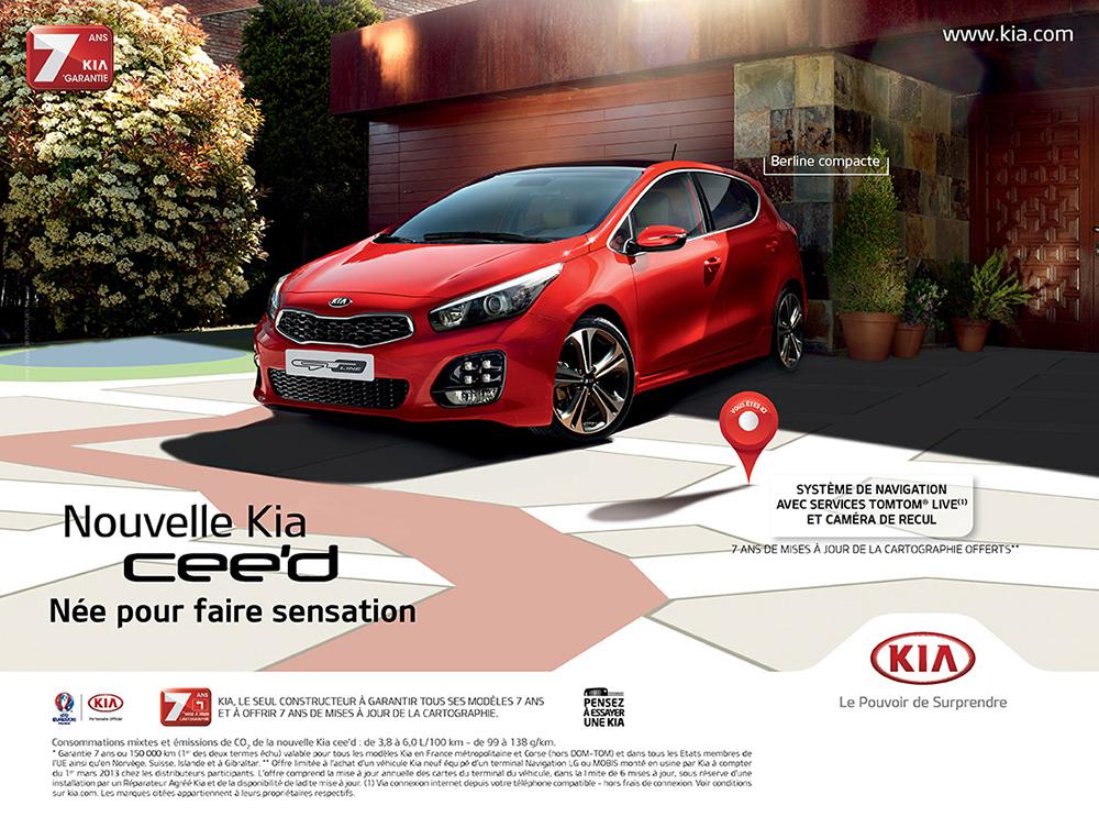 Création affiche nouvelle campagne Kia cee'd - créé par Romain Cotto, Directeur Artistique 360 Print/film/digital