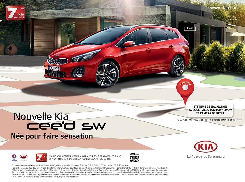 Création affiche nouvelle campagne Kia cee'd sw - créé par Romain Cotto, Directeur Artistique 360 Print/film/digital