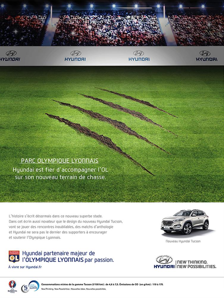 création annonce presse l'Equipe, Nouveau Stade de L'Olympique Lyonnais - créé par Romain Cotto, Directeur Artistique 360 Print/film/digital