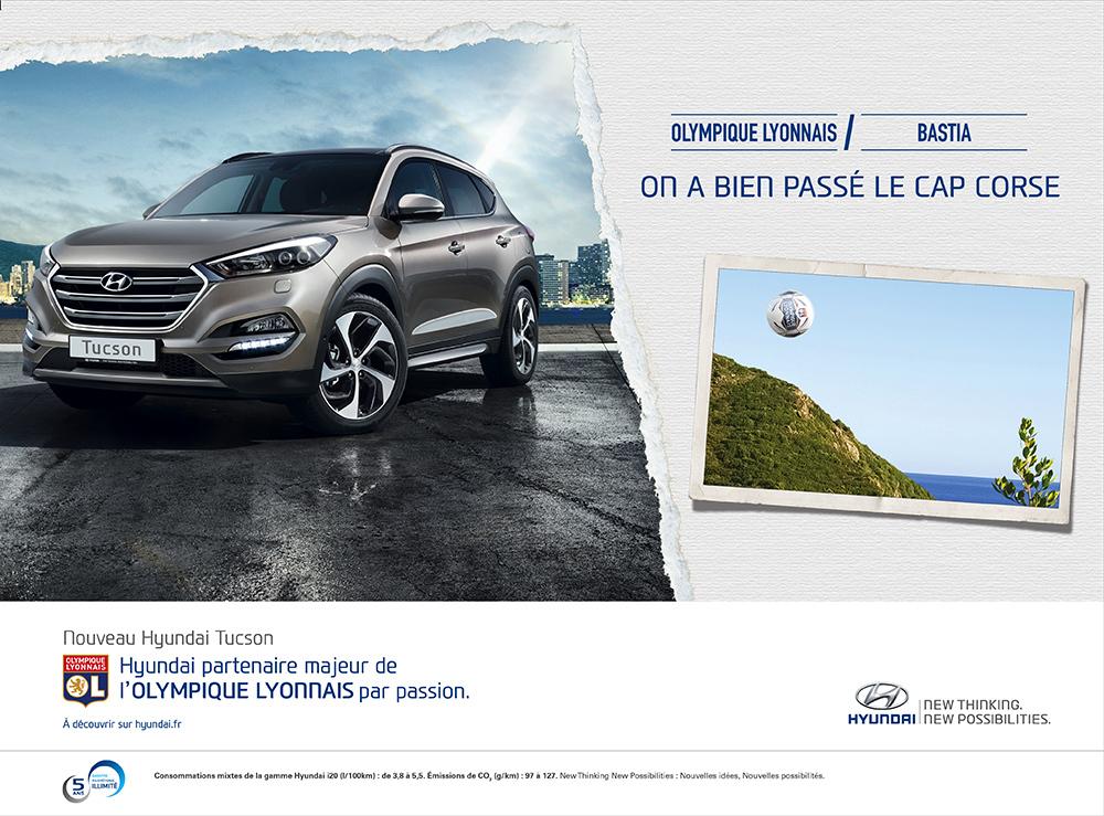 Annonce l'Equipe Hyundai/OL Bastia - créée par Romain Cotto, Directeur Artistique 360 Print/film/digital