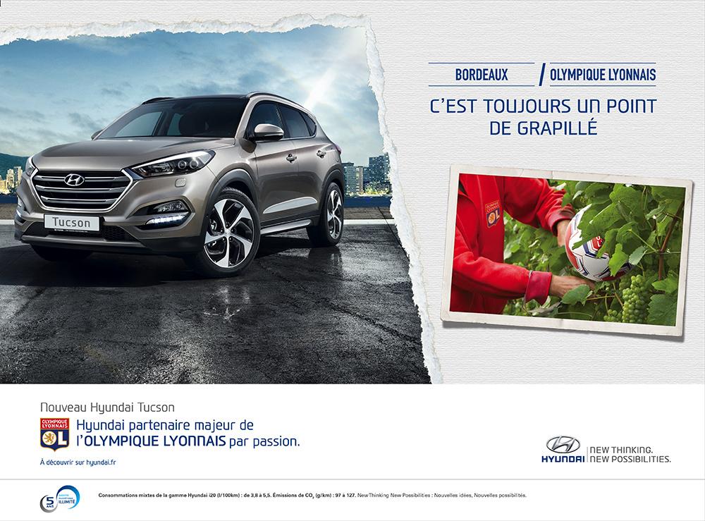 Annonce l'Equipe Hyundai/OL Bordeaux - créée par Romain Cotto, Directeur Artistique 360 Print/film/digital