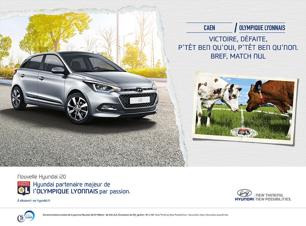 Annonce l'Equipe Hyundai/OL Caen - créée par Romain Cotto, Directeur Artistique 360 Print/film/digital