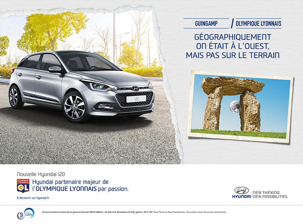 Annonce l'Equipe Hyundai/OL guingamp - créée par Romain Cotto, Directeur Artistique 360 Print/film/digital