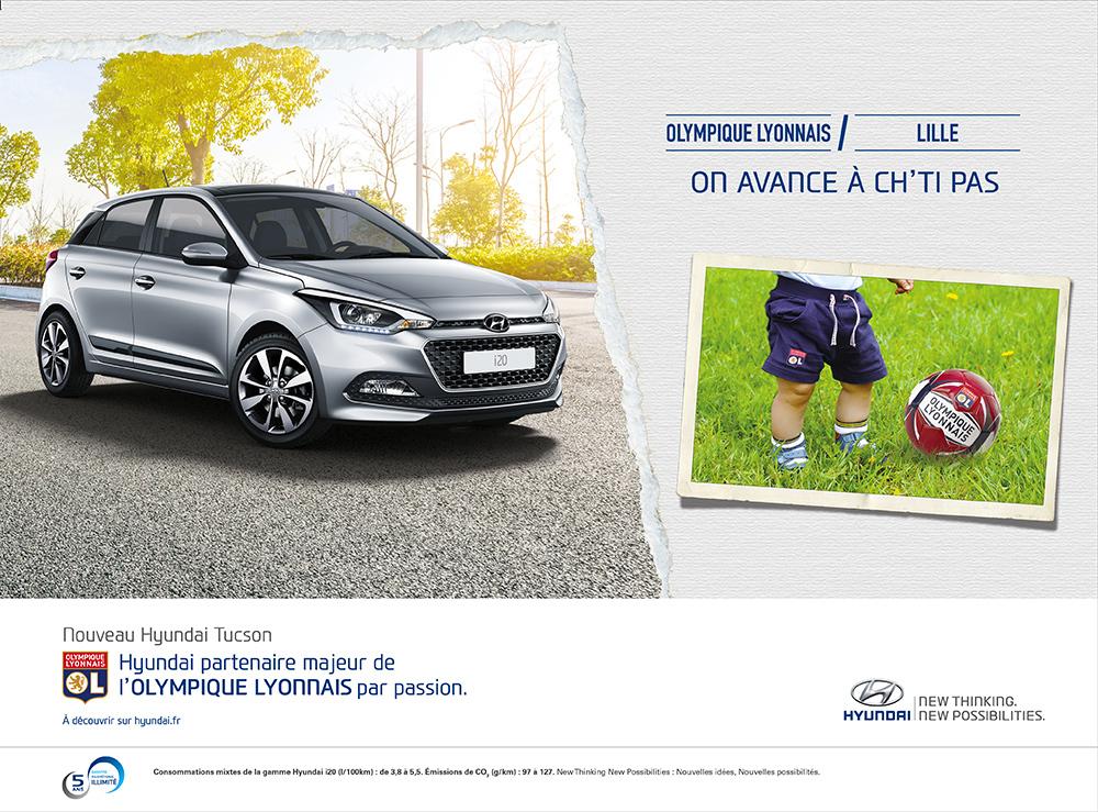 Annonce l'Equipe Hyundai/OL Lille - créée par Romain Cotto, Directeur Artistique 360 Print/film/digital