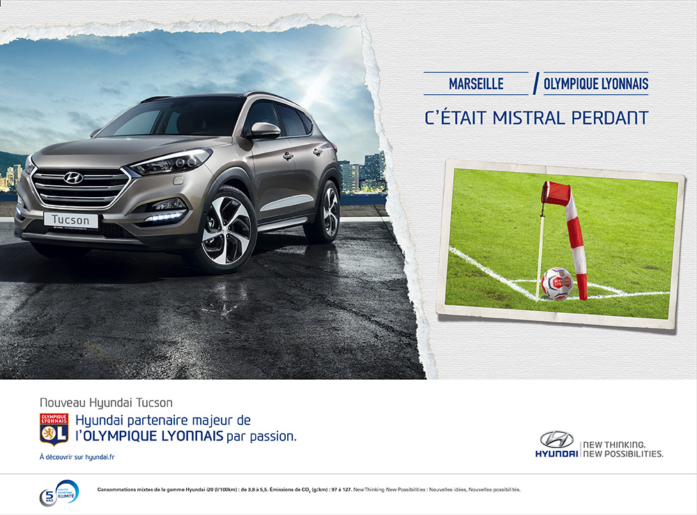 Annonce l'Equipe Hyundai/OL Marseille - créée par Romain Cotto, Directeur Artistique 360 Print/film/digital