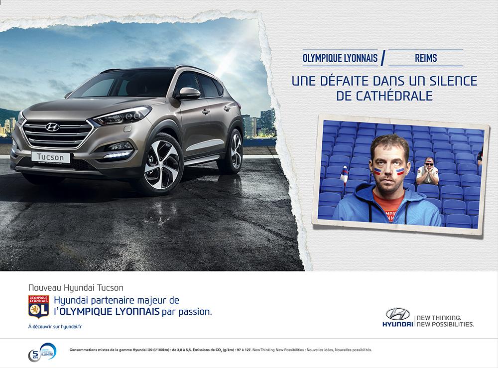Annonce l'Equipe Hyundai/OL Reims - créée par Romain Cotto, Directeur Artistique 360 Print/film/digital
