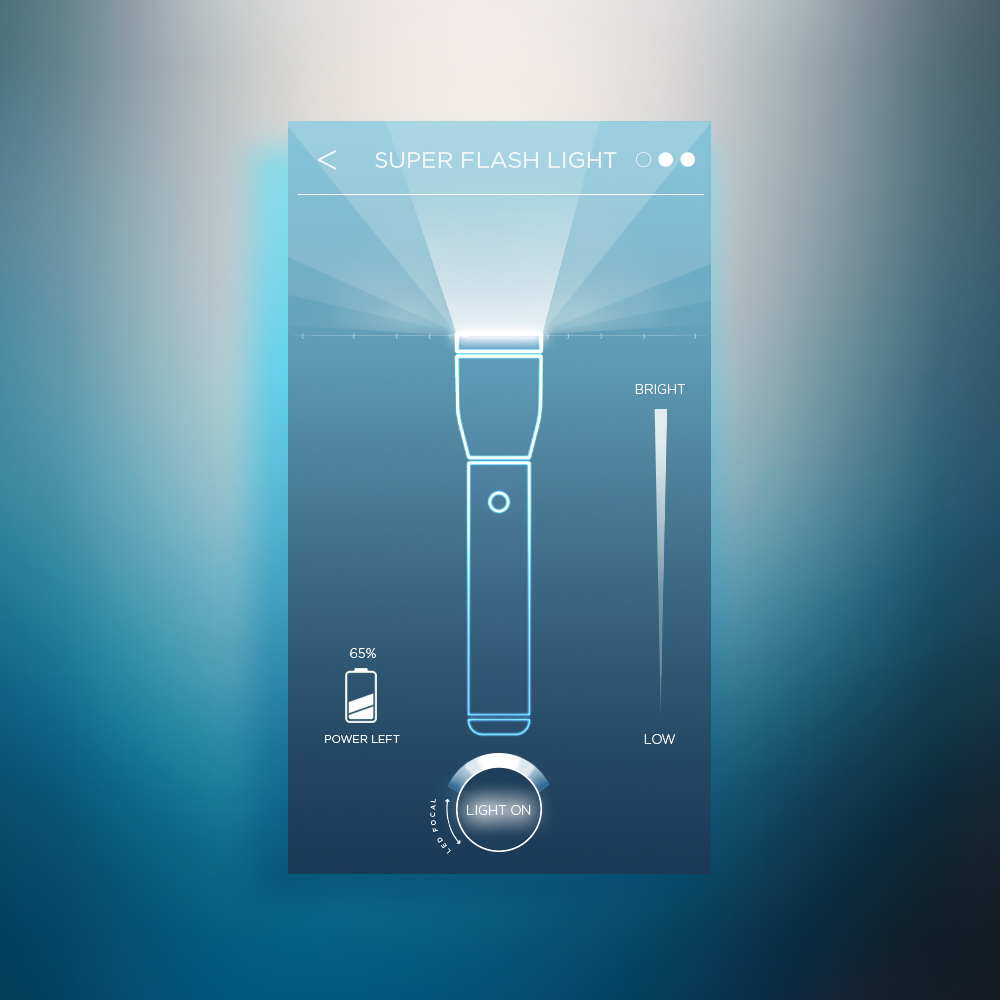 UI concept - light appli mobile -Concept UX/UI design - créé par Romain Cotto, Directeur Artistique 360 Print/film/digital