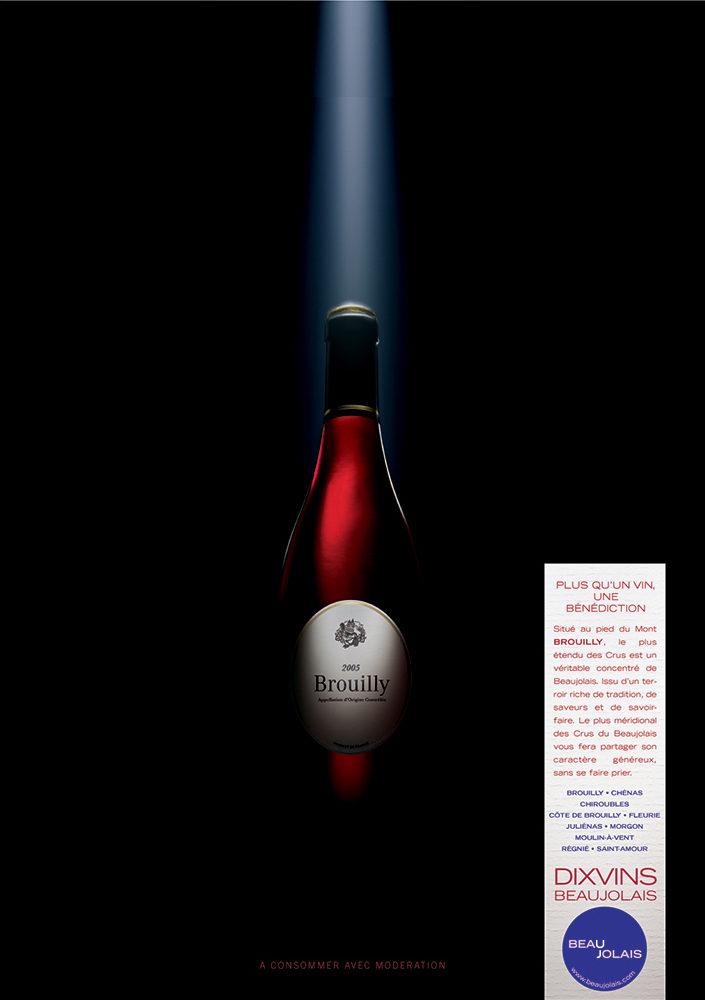 Campagne print grands crus du Beaujolais, Brouilly - créée par Romain Cotto, Directeur Artistique 360 Print/film/digital