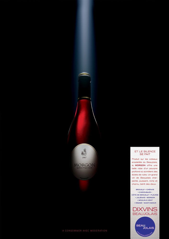 Campagne print grands crus du Beaujolais, Morgon - créée par Romain Cotto, Directeur Artistique 360 Print/film/digital