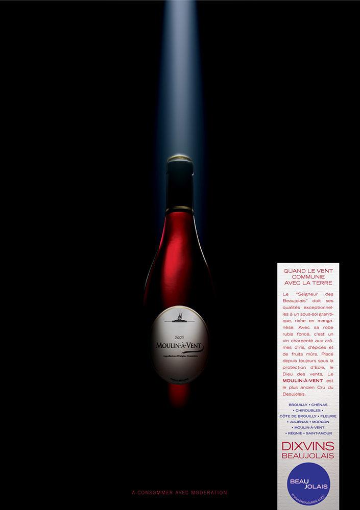 Campagne print grands crus du Beaujolais, Moulins à Vent - créée par Romain Cotto, Directeur Artistique 360 Print/film/digital