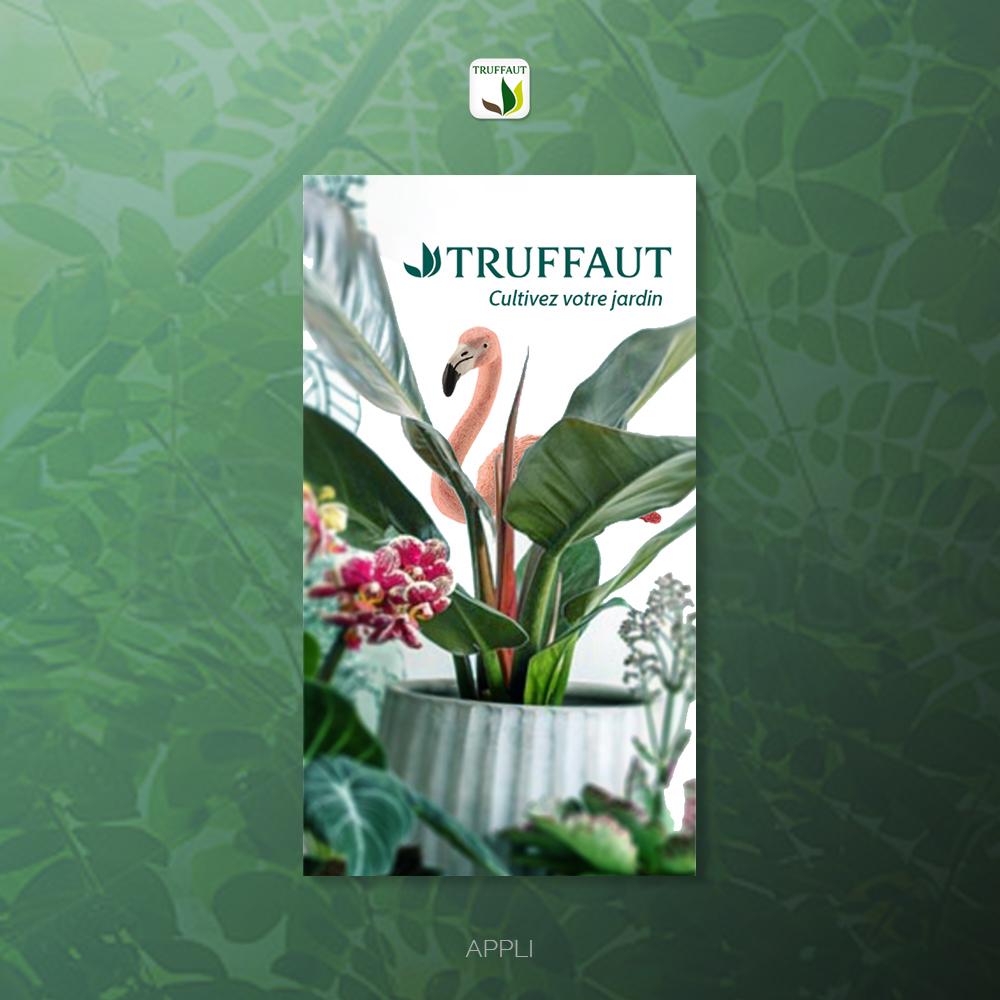 Appli Truffaut UI design - home page, créée par Romain Cotto, Directeur Artistique 360 print/film/digital