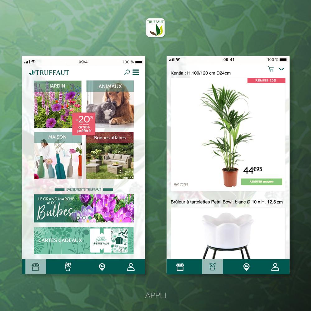 Appli Truffaut UI design - page produit mobile, créée par Romain Cotto, Directeur Artistique 360 print/film/digital