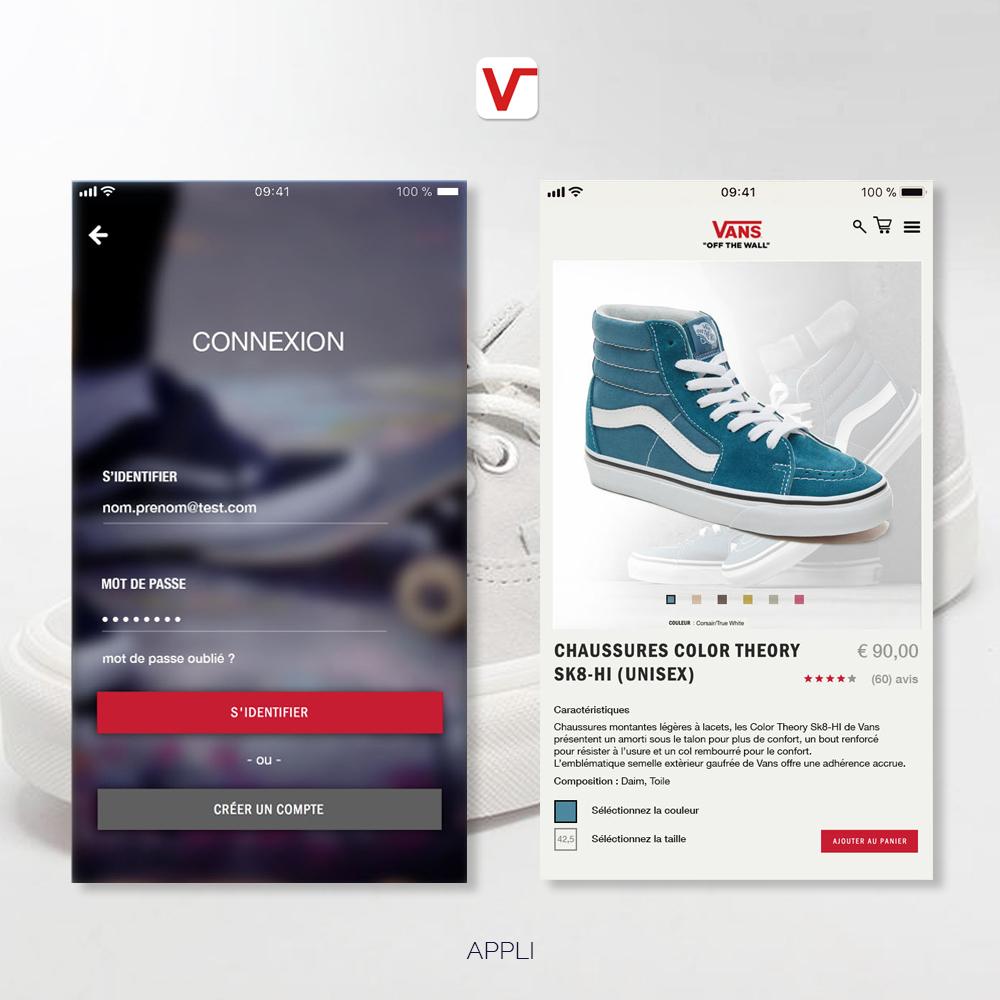 Appli Vans UI design - créée par Romain Cotto, Directeur Artistique 360 print/film/digital