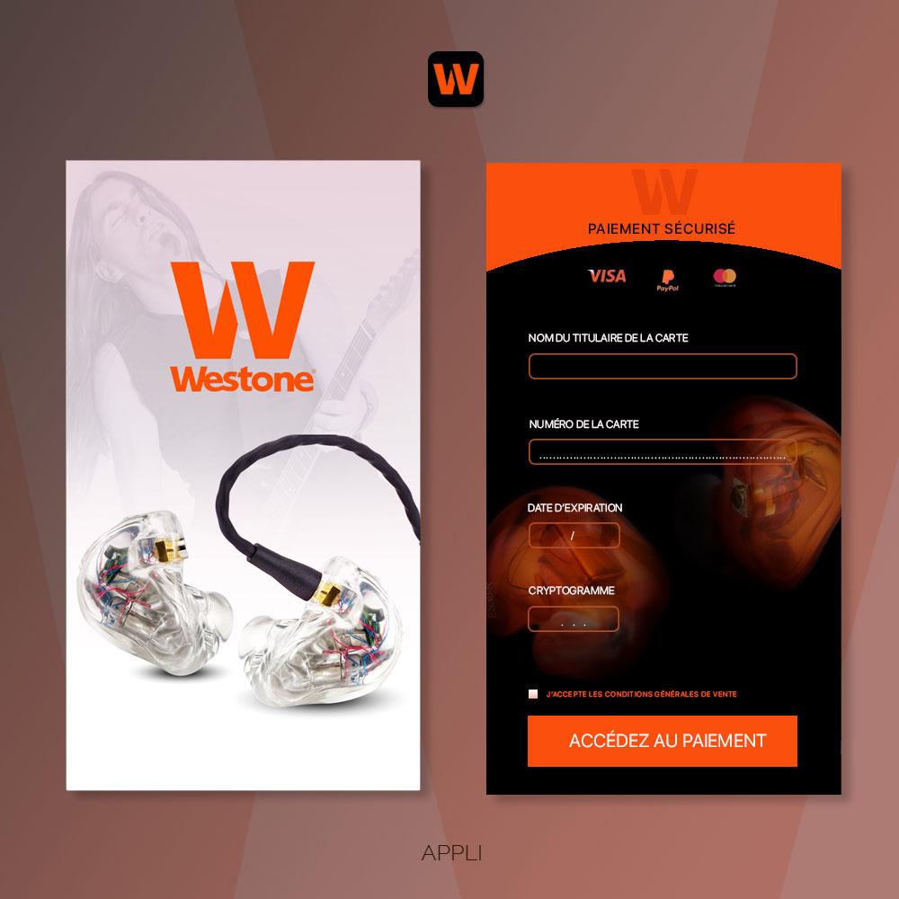 Conception Prototype Appli UI Design Westone, créé par Romain Cotto, Directeur Artistique Print/Film/Digital