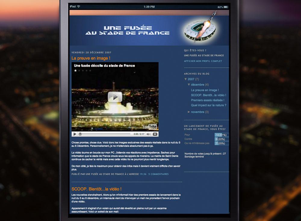 Création du Blog une fusée au Stade de France pour les 10 ans du SDF - créé par Romain Cotto, Directeur Artistique 360 Print/film/digital