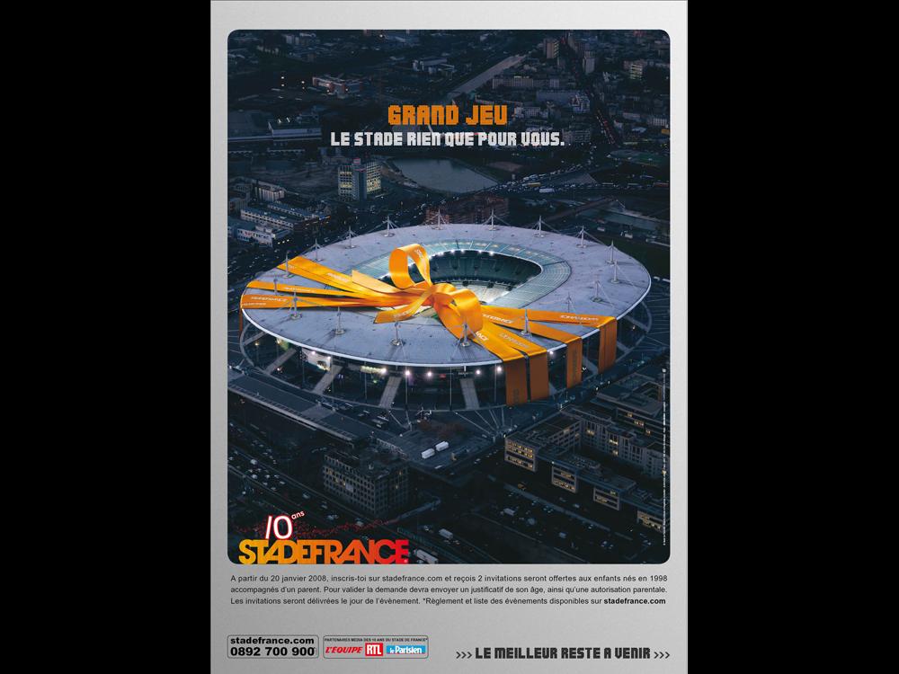 Annonce presse Grand Jeu Stade de France - créé par Romain Cotto, Directeur Artistique 360 Print/film/digital
