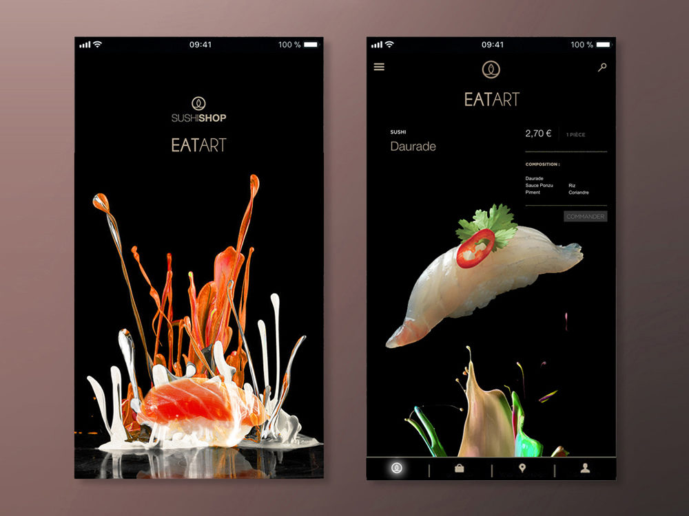 Conception Appli UI design Sushi Shop Eat Art - créé par Romain Cotto, Directeur Artistique 360 Print/film/digital