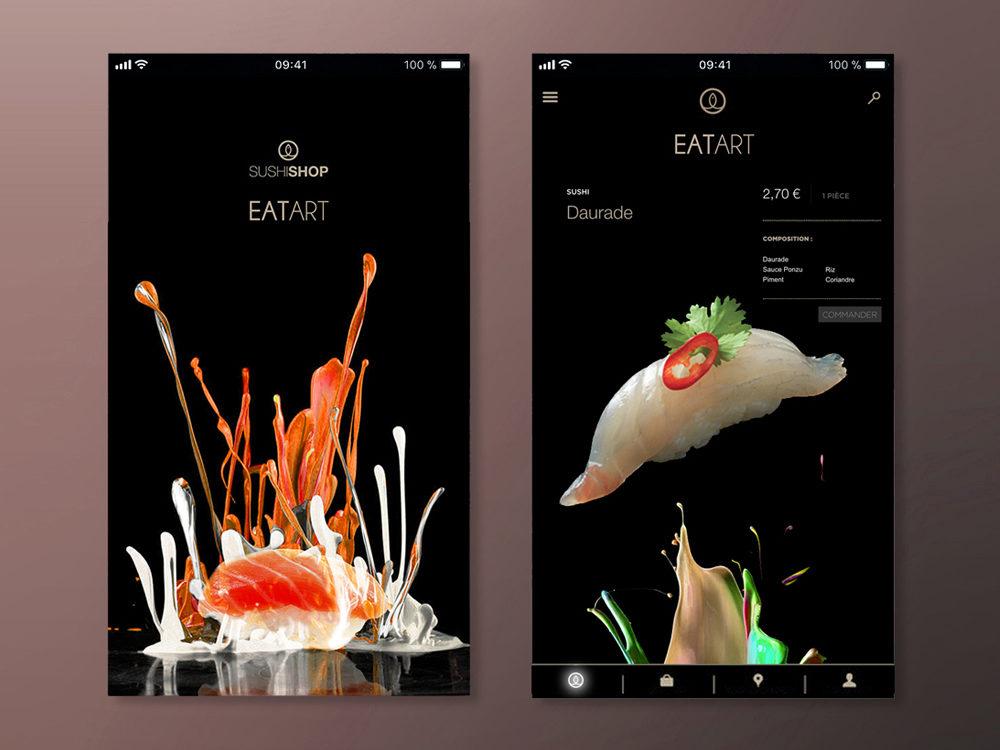 Conception Appli UI design Sushi Shop Eat Art - créé par Romain Cotto, Directeur Artistique 360 Print/film/digital