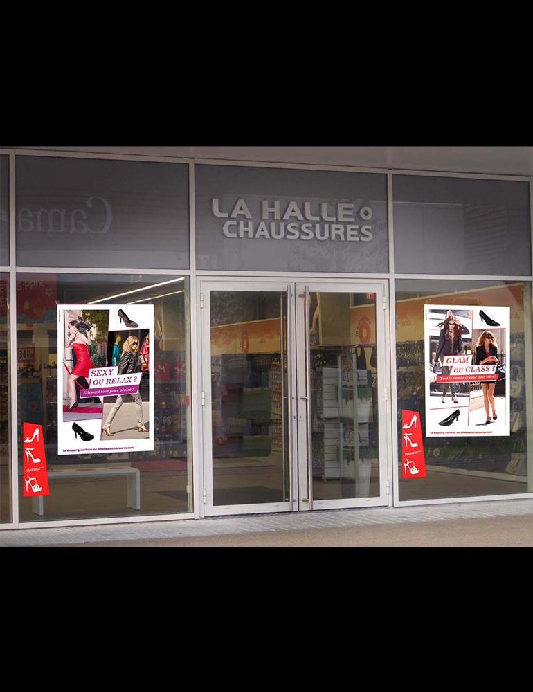 Campagne Escarpins, retail, Affiches vitrine, PLV, La Halle aux Chaussures - créé par Romain Cotto, Directeur Artistique 360 Print/film/digital
