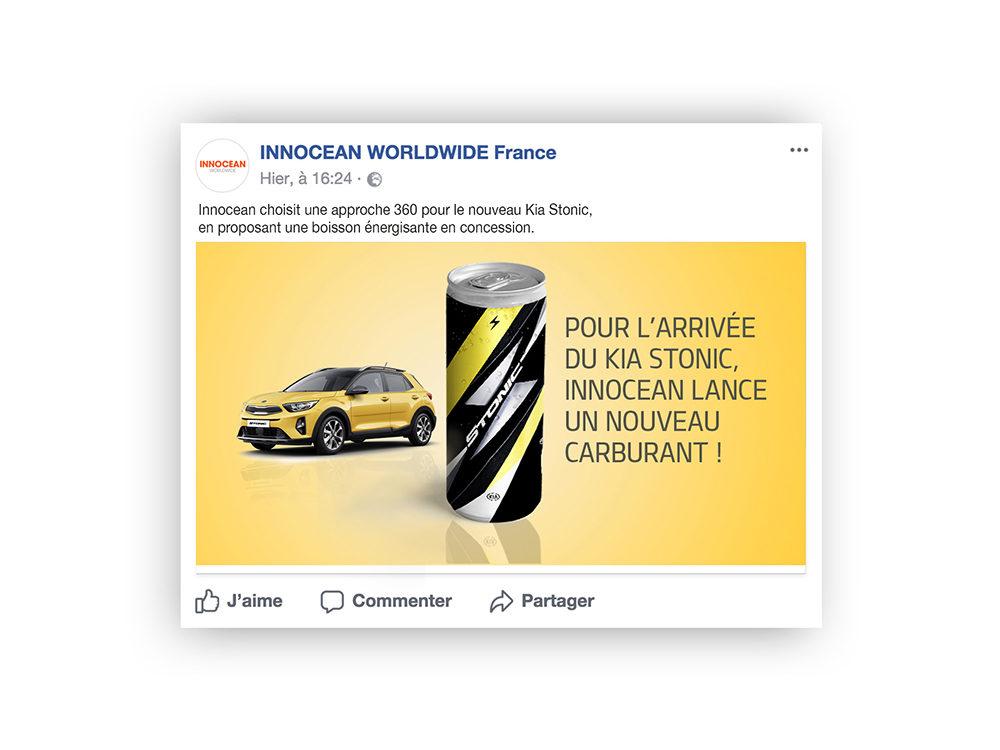 Post facebook, Nouveau Kia Stonic- créé par Romain Cotto, Directeur Artistique 360 Print/film/digital