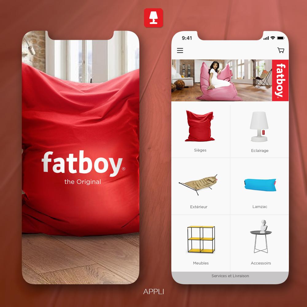 Conception Prototype Appli UI Design Fatboy, créé par Romain Cotto, Directeur Artistique Print/Film/Digital