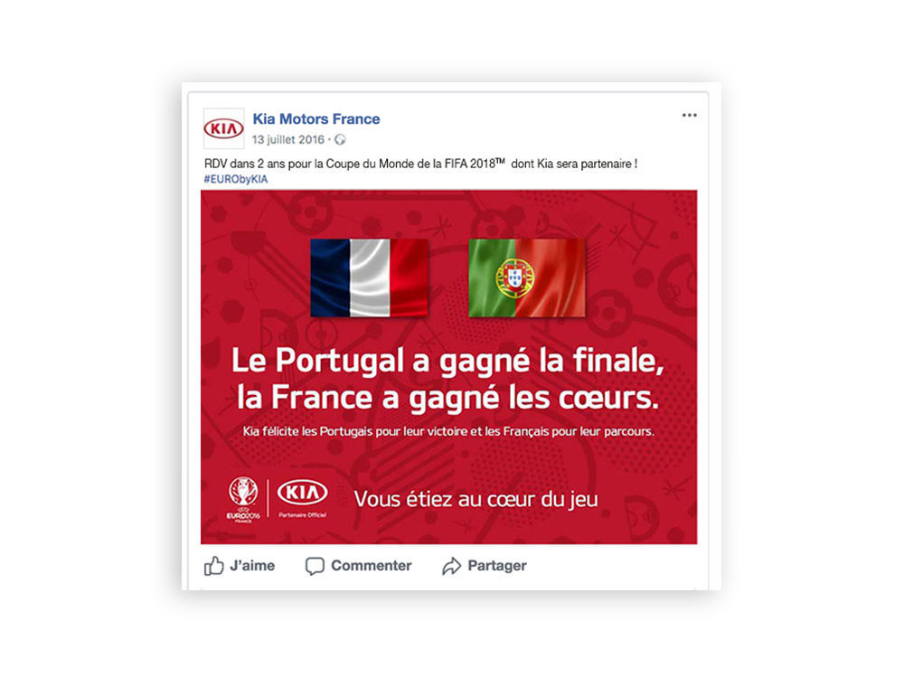 Post facebook, Kia Motors France, euro 2016 - créée par Romain Cotto, Directeur Artistique 360 Print/film/digital