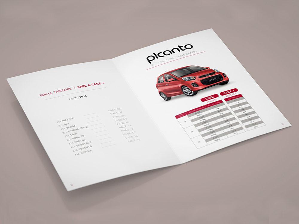 """leaflet Kia """"Care""""- créé par Romain Cotto, Directeur Artistique 360 Print/film/digital"""