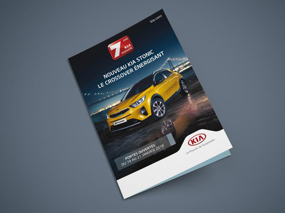 Couverture leaflet edition kia Stonic - créé par Romain Cotto, Directeur Artistique 360 Print/film/digital