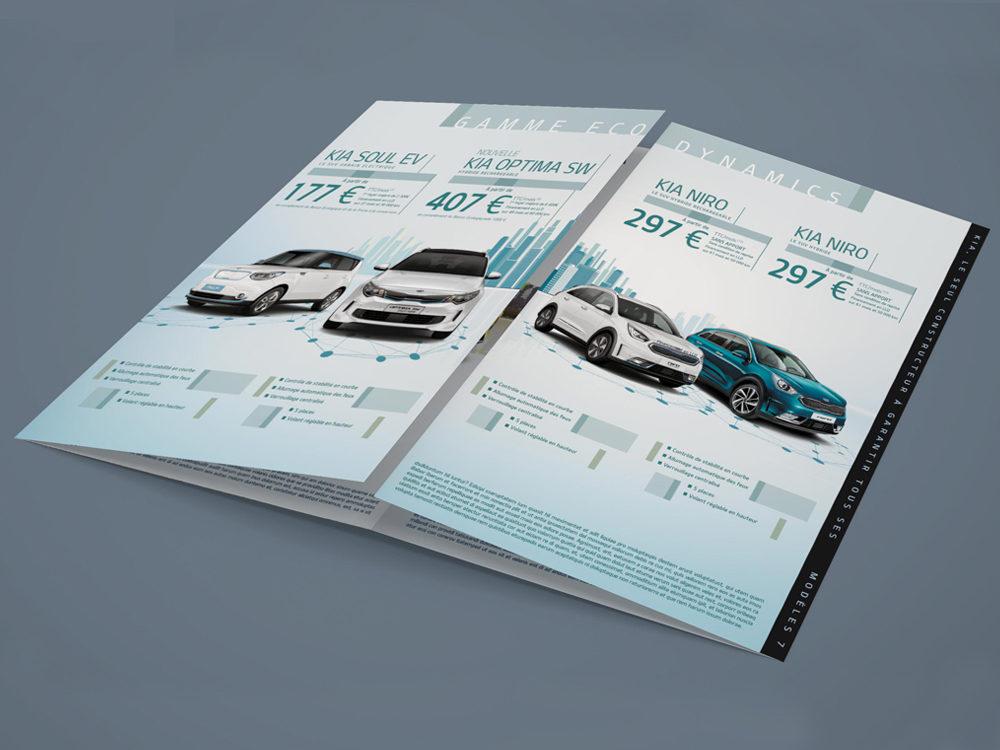 leaflet edition kia motors- créé par Romain Cotto, Directeur Artistique 360 Print/film/digital