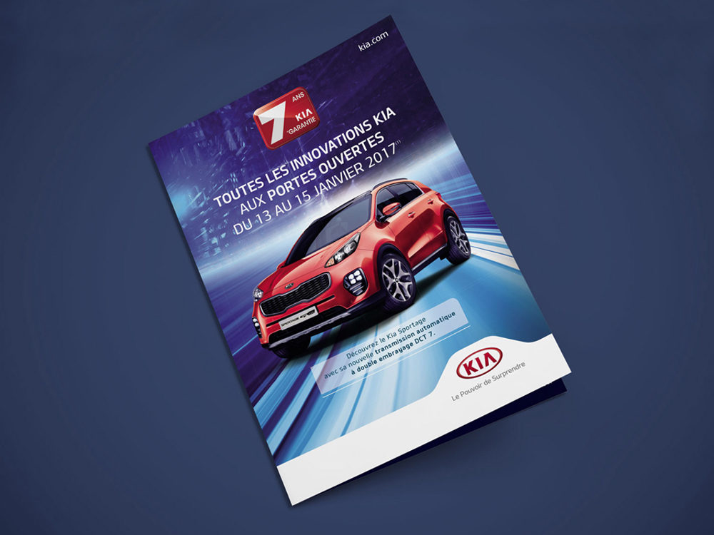 couve leaflet edition kia Sportage - créé par Romain Cotto, Directeur Artistique 360 Print/film/digital